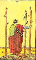 Tarot Karte Drei Stäbe