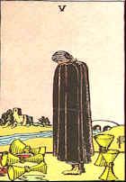 Tarot Karte Fünf Kelche