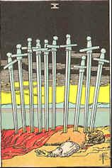 Tarot Karte Zehn Schwerter