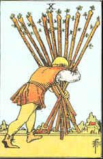 Tarot Karte Zehn Stäbe