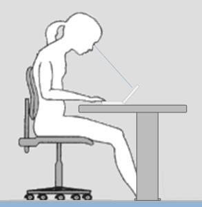 Ergo-online.de: Sitzhaltung bei der Arbeit mit Notebook: links mit zu tief geneigtem Kopf und rechts ergonomischer mit aufgestelltem Gerät.