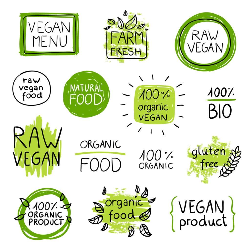 Vector Illustration of Healthy Organic Vegan Food Lables