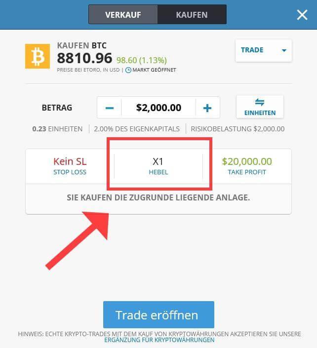 Kryptowährungen kaufen bei eToro mit Hebel - Bitcoin